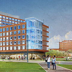 Rendering of UMass Boston's first residence hall complex