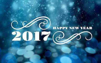 Happy New Year 2017 phrase with blue lights on background