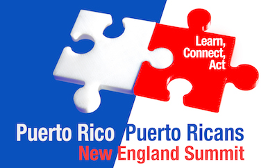 Summit flyer with two puzzle pieces in red and blue.