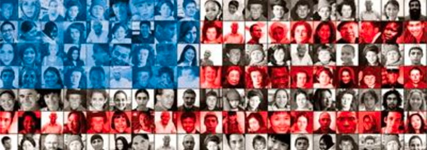 American flag made up of a mosaic of diverse faces