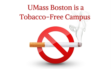 Graphic says UMass Boston is a Tobacco-Free Campus