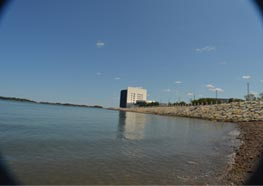 View from the HarborWalk of the JFK Presidential Library and Museum