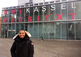 UMass Boston student Georges Laurent outside the University of Kassel