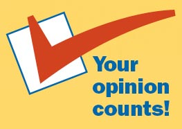 Graphic with a checkmark in a box that says Your opinion counts!