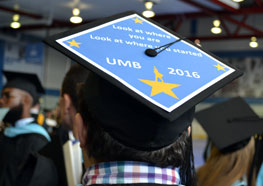Mortarboard that says Look at where you are. Look at where you started UMB 2016