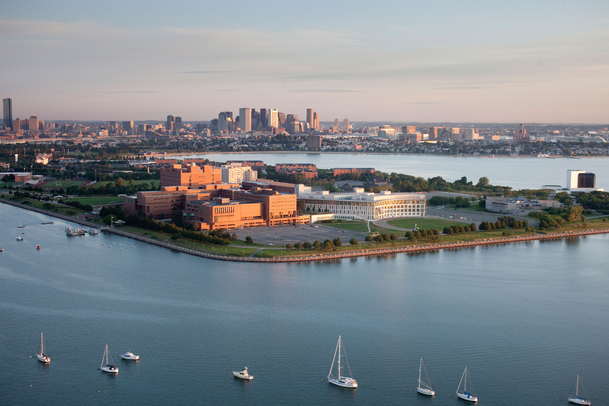 aerial view of the University of Massachusetts Boston campus
