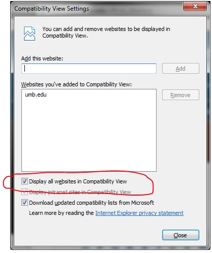 IE 10 Compatibility View settings dialog box
