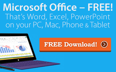 Ad graphic for Free Microsoft Office. A laptop showing charts and graphs, with a Free Download button