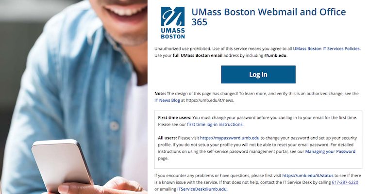 Preview of new webmail.umb.edu webpage