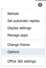 Office 365 Options menu