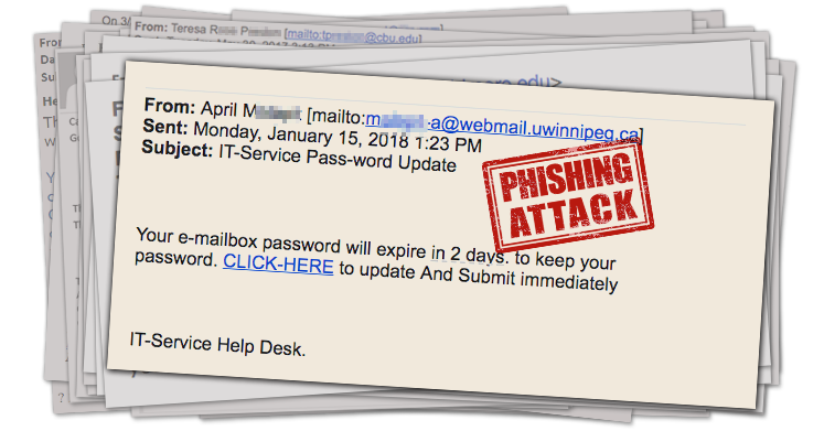 Screenshot of phishing email titled