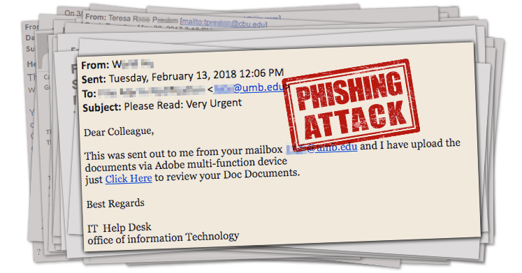 Screenshot of a phishing email with the subject line