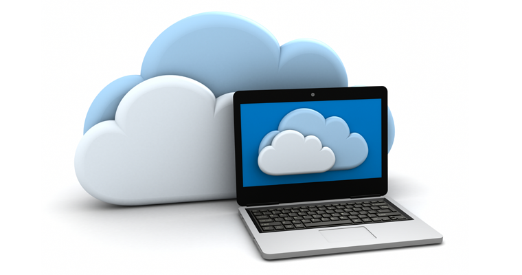 Graphic of a laptop in front of two clouds.