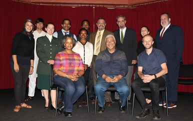The cast and crew of the staged reading of the play Reconciliation