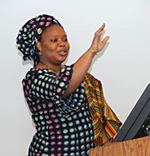 Picture of Leymah Gobowee speaking at UMass Boston