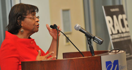 Yolanda Moses spoke at the ninth annual Kingston-Mann awards banquet.