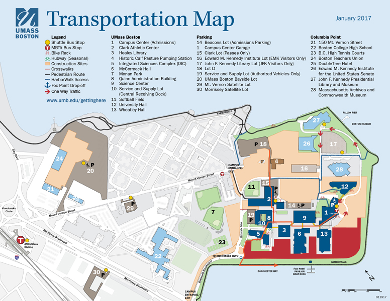 Map showing the route to the Fox Point pavilion while the University of Massachusetts Boston campus is under construction.