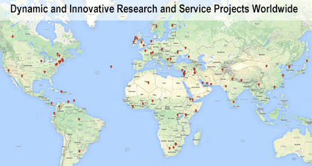 Google Map graphic of Research and Service projects