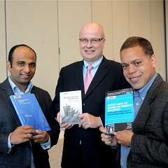 Aroon Manoharan, Christian Weller, and Michael Johnson with their 2015 books