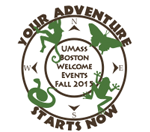 Graphic of a globe with text that says UMass Boston Welcome Events Fall 2015 Your Adventure Starts Now