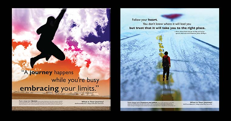These are two of the posters T riders will see on Orange Line trains from August 8 through September 4.