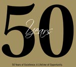 Graphic that says 50 Years. 50 Years of Excellence. A Lifetime of Opportunity