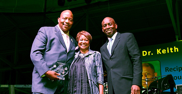 Chancellor J. Keith Motley, Dr. Valerie Roberson, and Keith McDermott, Director, Reggie Lewis Center