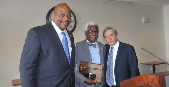 Chancellor J. Keith Motley, Charles Desmond, and Outgoing Commissioner of Higher Education Richard M. Freeland