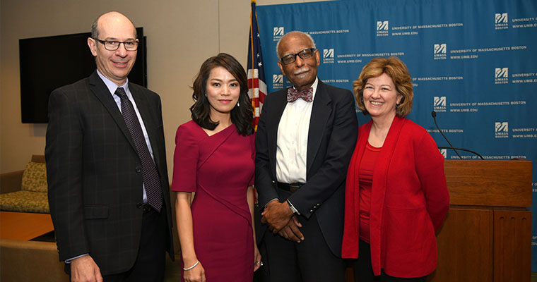 Professors David Levy, Shirley Suet-ling Tang, Provost Winston Langley, and Professor Jan Mutchler.