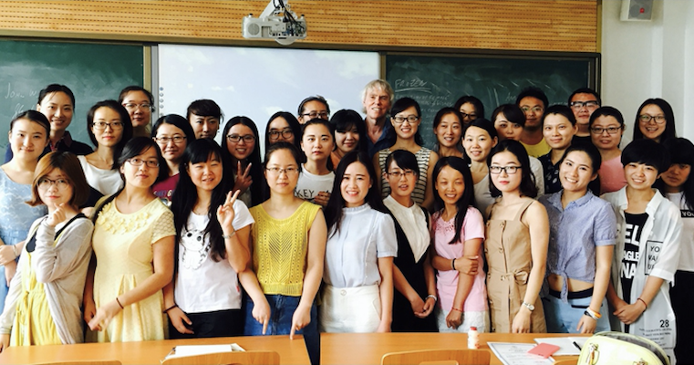 Senior Lecturer John Hess with students from Shaanxi Normal University