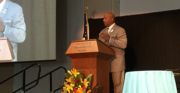 Chancellor J. Keith Motley welcomes attendees to the 2015 Inner City 100 Conference and Awards at UMass Boston.