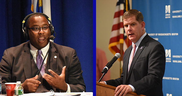 City Councilor Tito Jackson (left) and Boston Mayor Marty Walsh (right) will kick off the campaign season with live conversations held on the UMass Boston campus.