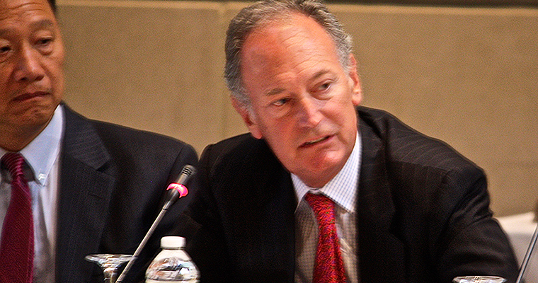 Interim Chancellor Barry Mills speaks to the UMass Board of Trustees at their meeting Monday.