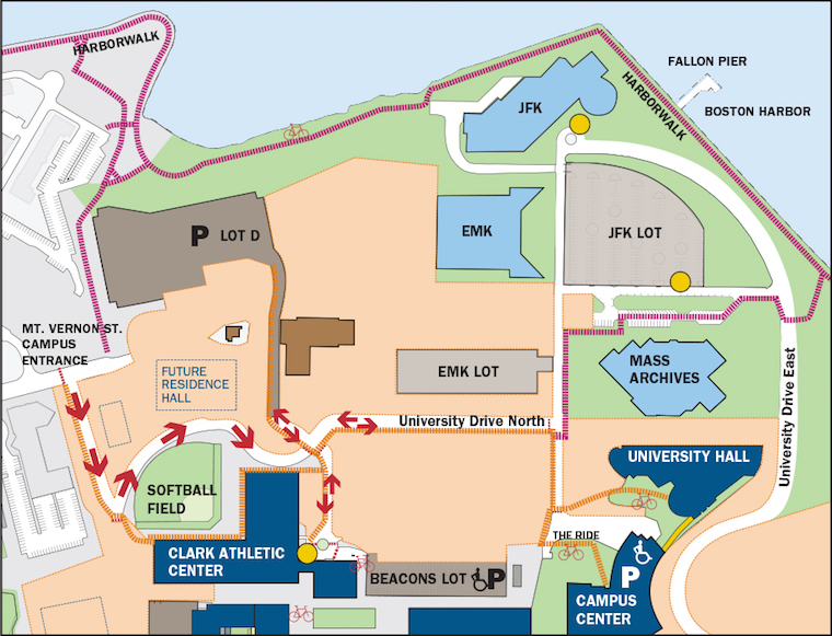 A map of the changes to the Mt. Vernon Street entrance to campus, which will become one way for a month beginning on July 30.