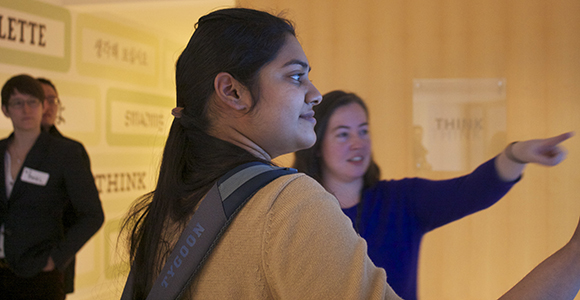 UMass Boston student Sangeetha Kuppuswamy learns how to use the