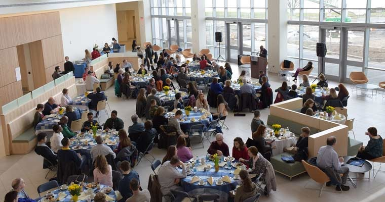 Accepted students attend a scholarship breakfast on Saturday before Welcome Day, which drew about 1,400 people.