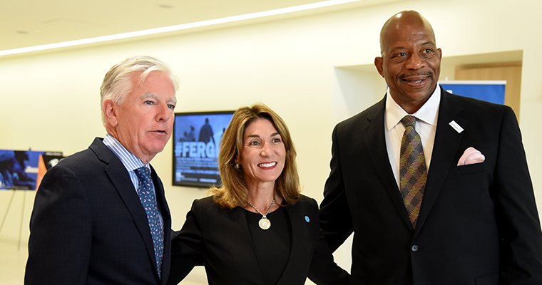 Chancellor Motley was joined by UMass President Marty Meehan and Lt. Governor Karyn Polito at the University Hall Ribbon Cutting.