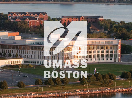 Picture of the University of Massachusetts Boston campus with the logo on top of the picture