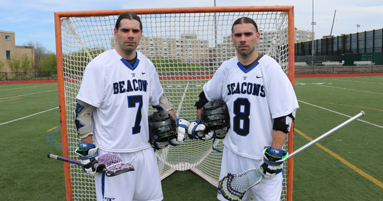 Clay and Kroy Arnold, in their lacrosse uniforms