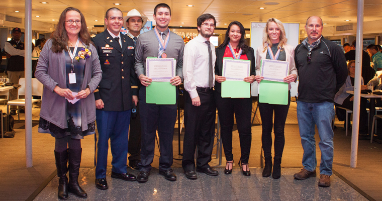 Three recipients of The Arredondo Brothers' Memorial Scholarship: Erick Sandoval, Stefany Munoz, and Katie Dobos