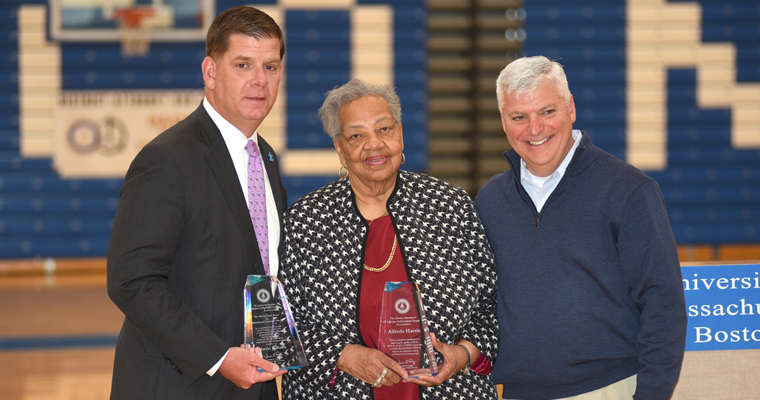Boston Mayor Marty Walsh, Alfreda Harris, and Suffolk County District Attorney Dan Conley