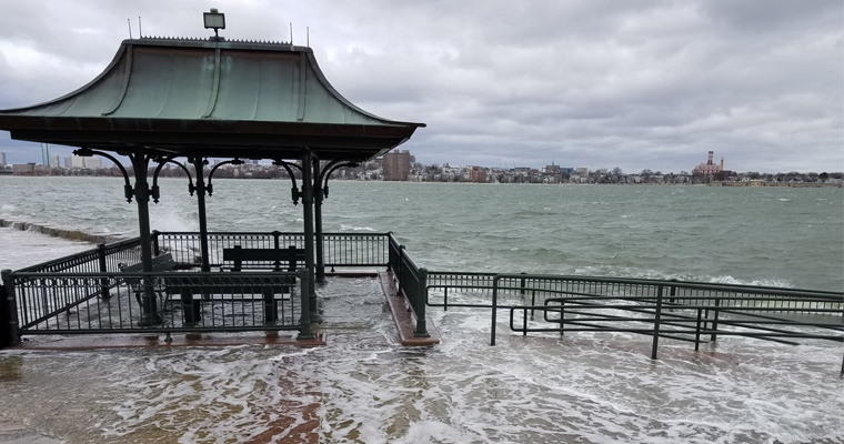 The HarborWalk flooded in March 2018.