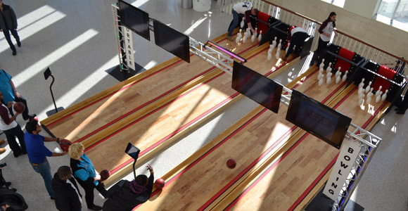UMass Boston students bowl during Welcome Week.