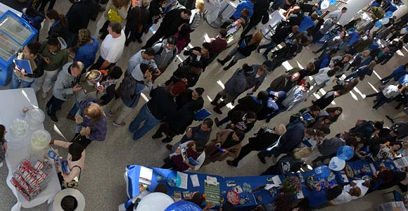 View from above of information tables