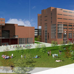This is a rendering of what a central quadrangle might look like on the UMass Boston campus, part of the 25-year master plan.