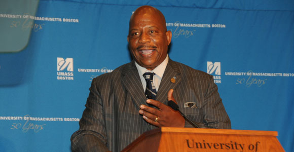 Chancellor J. Keith Motley delivers the 2014 convocation address.