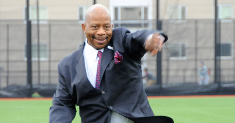 Chancellor J. Keith Motley throws out the first pitch