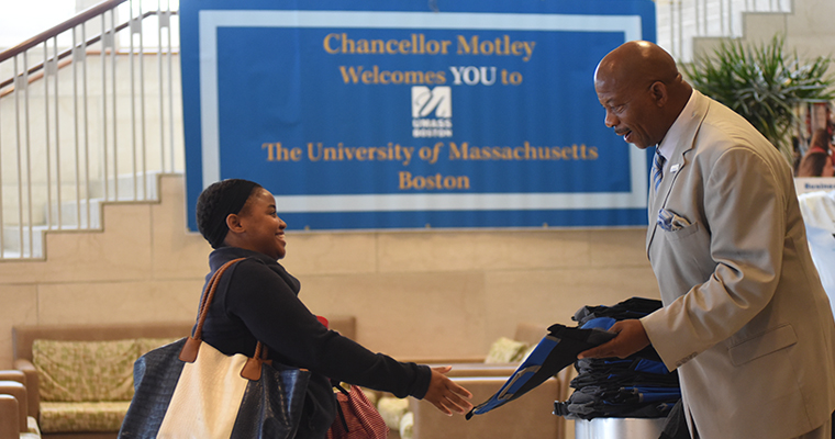 Chancellor Motley greets students in the Campus Center.