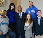 UMass Boston students surround Chancellor J. Keith Motley