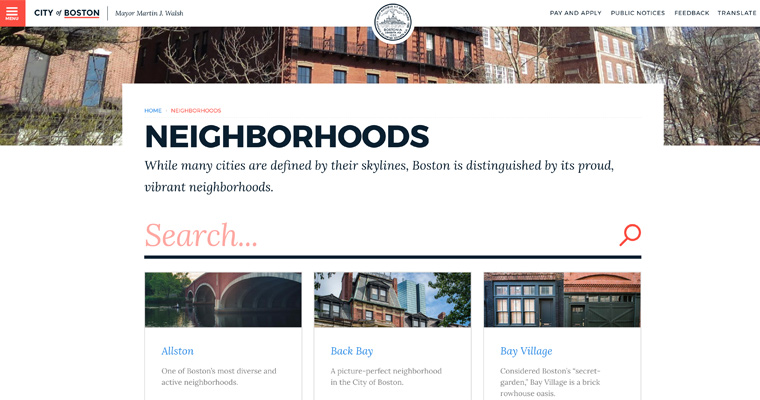 A screen capture of the City of Boston's Neighborhoods page, taken June 8, 2018.